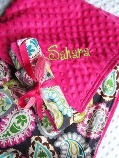 Baby Girl Blanket  Large 35 x 29 Stroller Blanket by BucciAndBubba, $35.00