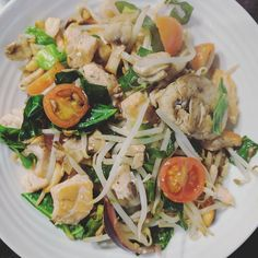 Lunch! Salmon mushroom pine nut & cherry tomato stir fry