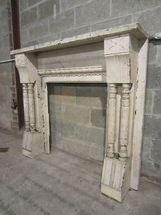Antique Victorian Tiger Oak Fireplace Mantel With Beveled Mirror ...
