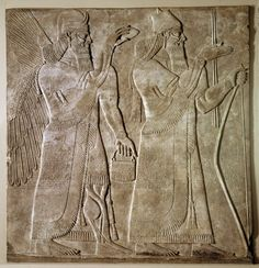 Alabaster wall panel; relief; formal scene; king appears as conquerer with bow and arrows flanked by protective spirits; also appears holding a bow and bowl flanked by human attendants; inscription; part of group showing king as conqueror with bow and arrow, and also holding bow and bowl, flanked by attendants.