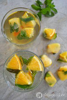 Hielos con naranja y menta www.pizcadesabor.com