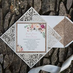 Laser cut wedding invitations feature some of the most detailed designs you will find in your search for the perfect wedding invites.Invitation Card Dimensions:6.10 x 6.10 in (w x h)Response Card Dimensions:3.937 x 3.937 in (w x h)Reception Card Dimensions:3.937 x 3.937 in (w x h)Thank You Note:3.937 x 3.937 in (w x h)Outer Envelope:6.50 x 6.50 in (w x h)Envelopes for Other Cards:4.33 x 4.33 in (w x h)(not mailable)Please note, reception cards don't come with envelopes. If you need them, ...