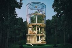 This Tubular Glass House Wraps Around A Single Tree: If Youu0027ve Always  Wanted To Be At One With Nature But Couldnu0027t Let Go Of The Creature  Comforts Of Modern ...