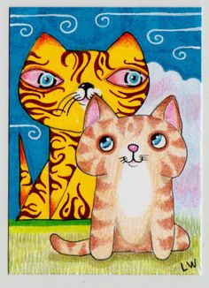 LWick Original ACEO bright colorful kitty cat meets quiet pencil kitty cat :)