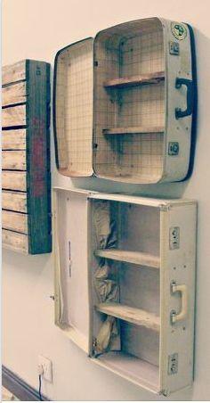 Interesting Shelving Ideas - Moss Cottage - Suitcase Shelves, but I love my suitcases, hmmm? Informations About Interesting Shelving Ideas – M - Suitcase Shelves, Suitcase Display, Suitcase Decor, Suitcase Chair, Diy Casa, Deco Originale, Vintage Suitcases, Vintage Luggage, Bedroom Themes