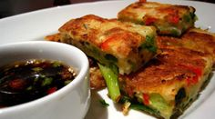 Pajeon (Pan-Fried Green Onion and Seafood Pancakes) | A hearty Korean dish of eggs, minced green onions and seafood. #pajeon #pajun #Korean #pancake #appetizer #seafood #recipe