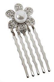 L. Erickson Floral Glimmer Comb - Silver
