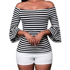 SUBWELL Women's Off Shoulder Flared Sleeve Black and White Stripe T Shirt Top Blouse  https://buttermintboutique.com/product/subwell-womens-off-shoulder-flared-sleeve-black-and-white-stripe-t-shirt-top-blouse-2/