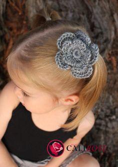 Crochet yarn flower hairclip on Etsy, $4.00