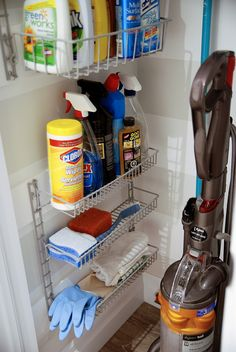Powder closet 10 Utility Closet Organization Ideas Top 3 Tips For Buying Office Furniture Article Bo Cleaning Supply Storage, Cleaning Closet, Cleaning Supplies, Cleaning Products, Cleaning Tips, Bathroom Cleaning, Closet Storage, Kitchen Storage, Broom Storage
