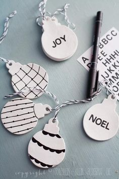 DIY: Clay ornaments + black marker