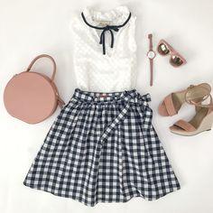 gingham skirt pink b