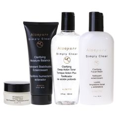 Simply Clear Value Package ~ Get the essentials for a clear, radiant complexion at a great buy! It features our exclusive acne facial wash, clarifying toner, oil-free moisturizer and acne spot treatment cream—all made with aloe vera and other natural ingredients for beautiful, blemish-free skin.     Included in the Simply Clear Value Package:   Clarifying Facial Wash - Clarifying Deep Action Toner - Acne Spot Treatment Cream - Clarifying Moisture Balance Oil-Free Moisturizer.