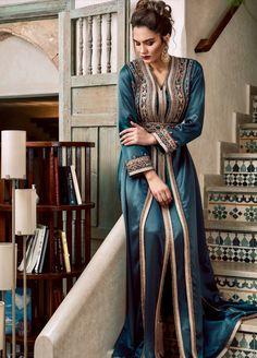 V-Neck Floor-Length Nine Points Sleeve Regular Lace-Up Dress – wearingpearl Kaftan Moroccan, Morrocan Dress, Arab Fashion, Indian Fashion, Morrocan Fashion, Modest Fashion, Fashion Outfits, Caftan Dress, Indian Designer Outfits