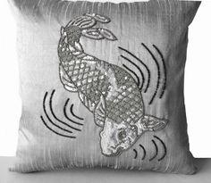 Grey Fuax Silk Pillow Cover -Koi Carp Fish Pillow -Sequin Throw ...