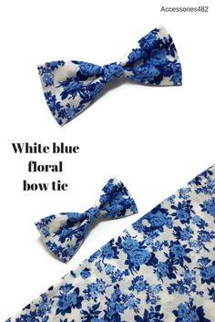 White bright blue floral bow tie groomsmen outfit for groom | Etsy Rustic Groomsmen Attire, Groomsmen Outfits, Wedding Men, Wedding Ideas, Floral Bow Tie, Thing 1, Gray Weddings, Skinny Ties