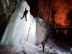 The long retention of low temperature favored the icing of small Sopot waterfall on Medvednica mountain. The red sky comes from the city lights of nearby Zagreb. Sopot waterfall is the only one in the area, therefore alpinists from Zagreb use every chance for climbing it and staying in shape.