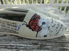 Custom hand painted toms butterfly dandelion by solereflections, $55.00... So adorable, I want!!