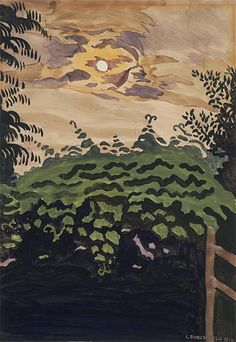 """Charles E. Burchfield (American, 1893 - 1967) - """"Moonlight Over the Arbor"""", 1916 - Watercolor and gouache over graphite"""