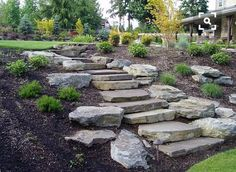 85 Gorgeous Front Yard Rock Garden Landscaping Ideas - front yard landscaping ideas with rocks House Landscape, Landscape Design, Garden Design, Landscape Steps, Landscape Architecture, Landscaping On A Hill, Landscaping With Rocks, Landscaping Ideas, Outdoor Landscaping