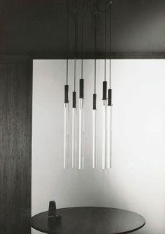 Angelo Mangiarotti | Plexiglas pendants | 1962. For me it's a Star Wars lightsabers pendant lamp.