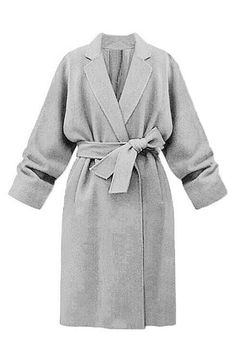 Grey Lapel Collar Trench Coat with Belt - US$59.95 -YOINS