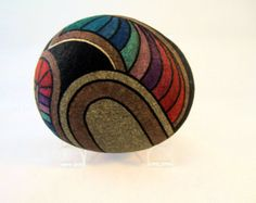 Unique 3-D Art Object Hand Painted Rock Signed by IshiGallery