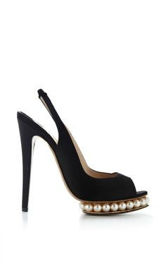 Shop Swarovski Pearl-Embellished Satin Platform Pumps by Nicholas Kirkwood