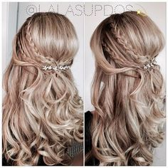 wedding hairstyles half up half down with curls and braid - Google Search