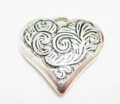 1 Large Silver Heart Charm Pendant Swirl by OverstockBeadSupply, $1.25