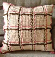 Free Knitting Pattern for Plaid Pillow - Easy Knit and Weave pillow cushion cover can be completed in a weekend, according to the designer Holly Allison. It is knit with stripes and dropped stitches, then the vertical stripes are woven through the dropped stitches. Rated easy by Ravelrers.