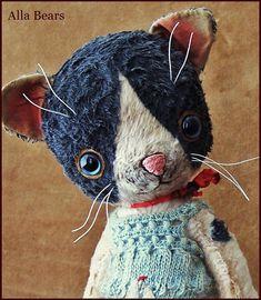 "By Alla Bears TINY original 8.25"" artist OOAK Vintage Old Prim Cat kitten toy…"