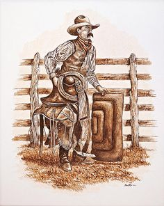 "Work by WA Member Raul Ruiz, ""Dusty, the Working Cowboy"", drawing, www.ruizgallery.com"