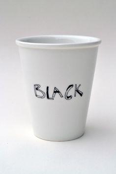 Black - porcelain cup with handmade illustration www.etsy.com/helenbONETSY