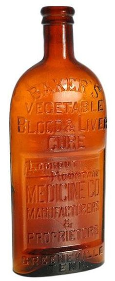 Lookout Mountain Medicine Co, Baker's Vegetable Blood & Liver Cure, Amber, 9 inch A Baker's Vegetable Blood & Liver Cure Lookout Mountain Medicine Co