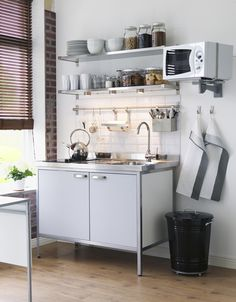 Freestanding modules are perfect for unfitted kitchens and can be taken with you if you move. They can be used in kitchens and utility rooms and can often make a small space feel larger, creating the illusion of space as the eye is drawn to the floor area beneath the unit. Ikea's Attityd 120cm-wide mini-kitchen in white and light grey includes a single-bowl sink, mixer tap, two-zone ceramic hob and fridge and costs £650