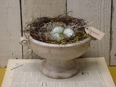 Vintage urn with NEST AND EGGS / spring home decor / nest and eggs assemblage. $24.95, via Etsy.