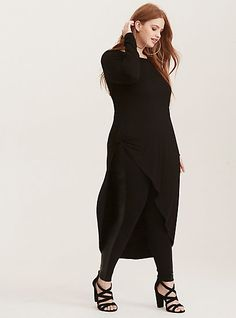 Black Knit Tie Front Asymmetrical Tunic TopPlus Size Black Knit Tie Front Asymmetrical Tunic Top,