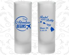 The Adventure Begins, Frosted Tall Shot Glasses, Hawaii Wedding, Travel Wedding, Plane (278)