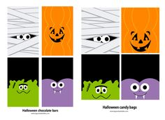 Free halloween template for candy bags and chocolate bars. Plantilla gratis para decorar bolsas de caramelos y chocolatinas para halloween.
