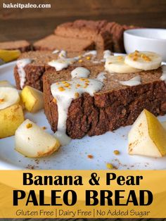 This easy, spiced Banana Pear Bread is gluten free, Paleo and only sweetened with fruit. It's the best healthy pear bread recipe - moist, made with fresh pears and full of flavor. #pears #pearbread #paleo Pear Recipes Gluten Free, Pear Recipes Healthy, Paleo Fall Recipes, Gluten Free Snacks, Healthy Desserts, Whole Food Recipes, Eat Healthy, Coconut Flour Bread, Almond Flour