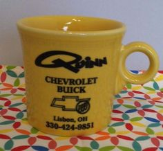 Sunflower Fiesta® Dinnerware  Quinn Chevrolet Lisbon, Ohio Advertising Ring Handled Mug. Made by Homer Laughlin China Company | eBay