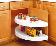 Buy the Rev-A-Shelf White Direct. Shop for the Rev-A-Shelf White RAS Polymer Diameter Half Moon Shaped Pivoting Two Shelf Lazy Susan Set - Slides Not Included and save. Kitchen Cabinet Organization, Kitchen Storage, Organization Ideas, Storage Ideas, Cabinet Ideas, Cabinet Organizers, Pantry Shelving, Storage Solutions, Corner Shelving
