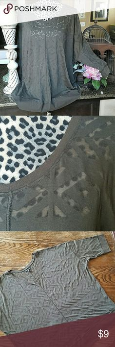 Graphic Plus Size Tee Olive green cotton and polyester short sleeved top with graphic design.  Band at arms and hem.  Tiny pinhole on collar (pictured), price reflects. Lane Bryant Tops Blouses