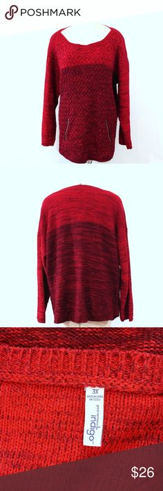Plus Size Indigo Red Sweater with Zipper Pockets Up for sale in great preowned condition Plus Size Indigo Red Sweater with Zipper Pockets, Size 3X.  Check out my closet, bundle and give me your offer! Indigo Sweaters Crew & Scoop Necks
