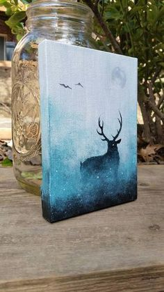 Deer Painting Galaxy Canvas Painting Space Painting Mini