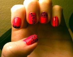 #pink #black #dots #nails