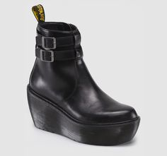 This brand new collection sits on an air-cushioned, grooved, wedge sole for the maximum combination of comfort and style. The 2-Strap Ankle Boot has an overlapping front panel with double strapping around the ankle for a neat summer look and an inside zip for ease of use. 2 Strap Ankle Boot Black Brando is a full-grain, waxy leather and as such, it will change appearance with age, creating a distressed look Double buckle fastening Inside zip Dr. Martens air-cushioned, grooved, wedge sole