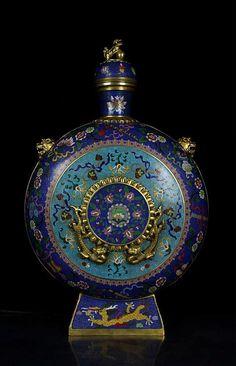 A Large Gilt Cloisonne Enamel Bronze Dragons Moonflask Vase