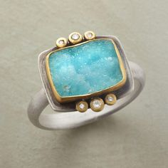 UNIQUELY CHRYSOCOLLA RING--Chrysocolla druzy's defining characteristic is that no two are exactly alike. Ananda Khalsa frames each in matte 22kt gold, a diamond trio above and below. Handmade in USA of sterling silver. $1,200.00